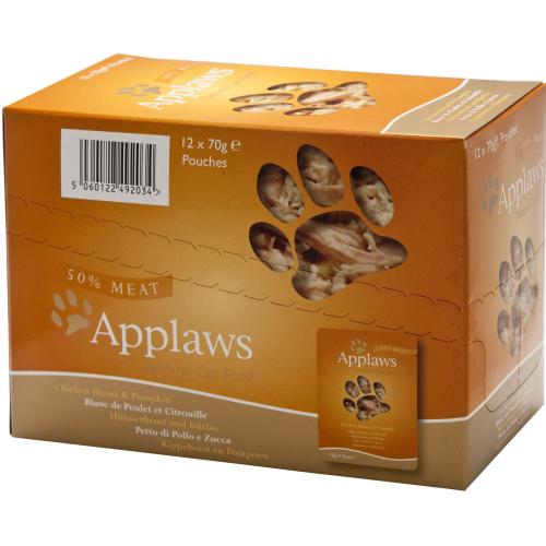 Applaws Chicken & Pumpkin Pouches Adult Cat Food 70g x 12