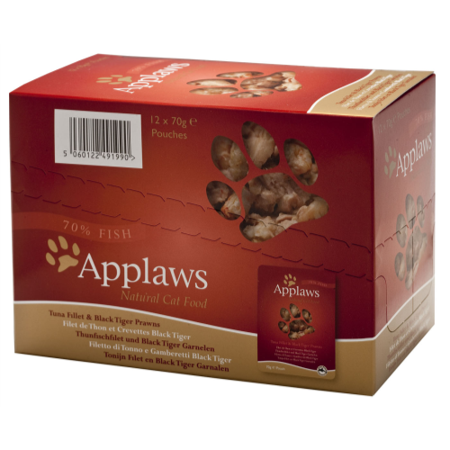 Applaws Tuna & Pacific Prawn Pouches Adult Cat Food 70g x 12