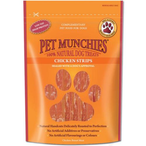 Pet Munchies Natural Chicken Dog Treats 90g x 8 - Chicken Strips SAVER PACK