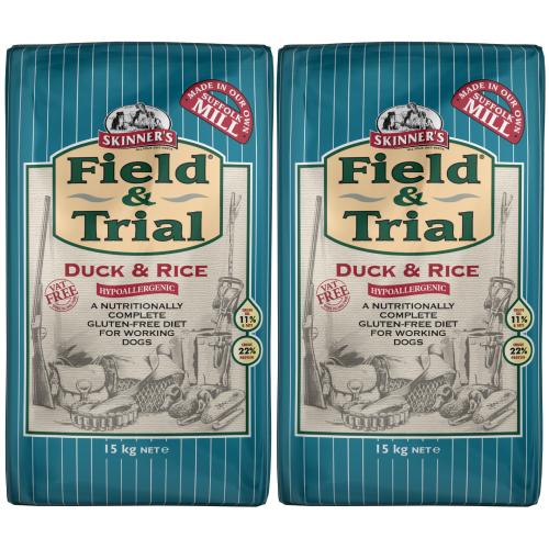 Skinners Field & Trial Duck & Rice Adult Dog Food 15kg x 2