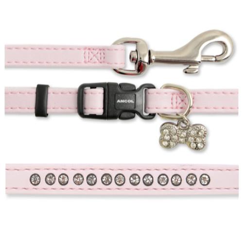 Ancol Small Bite Diamante Deluxe Collar & Lead Puppy Set
