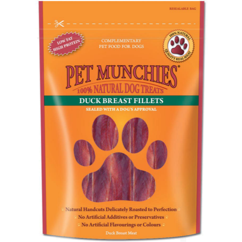 Pet Munchies Natural Duck Dog Treats 80g - Breast Fillets