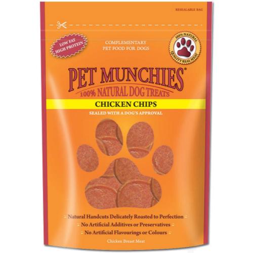 Pet Munchies Natural Chicken Dog Treats 100g - Chicken Chips