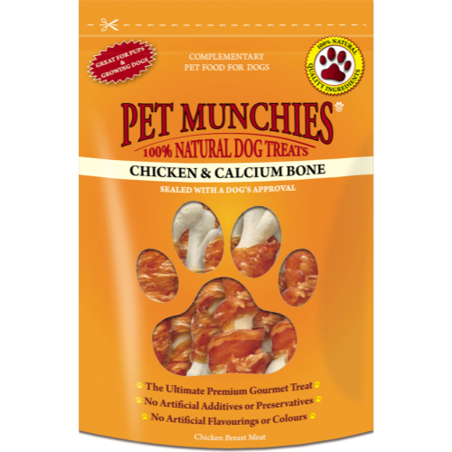 Pet Munchies Natural Chicken Dog Treats 100g - Chicken & Calcium Bones