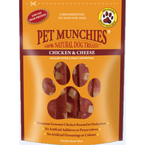 Pet Munchies Natural Chicken Dog Treats 100g - Chicken & Cheese