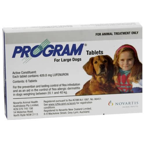 Program Flea Control Dog 20 to 80kg Large Dog  - 6 x 409.8mg Tablets