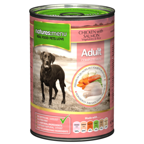 Natures Menu Chicken & Salmon with Veg Adult Dog Food Cans 400g x 36