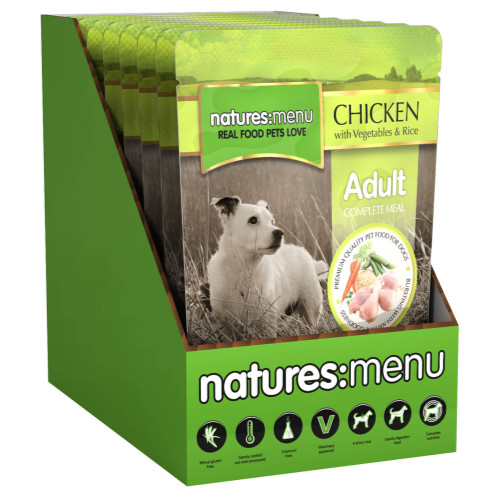 Natures Menu Chicken With Veg & Rice Adult Dog Food Pouches