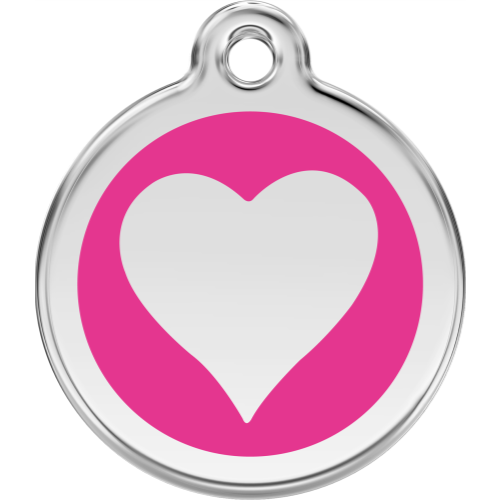 Red Dingo Cat ID Tag Stainless Steel & Enamel Heart Hot Pink
