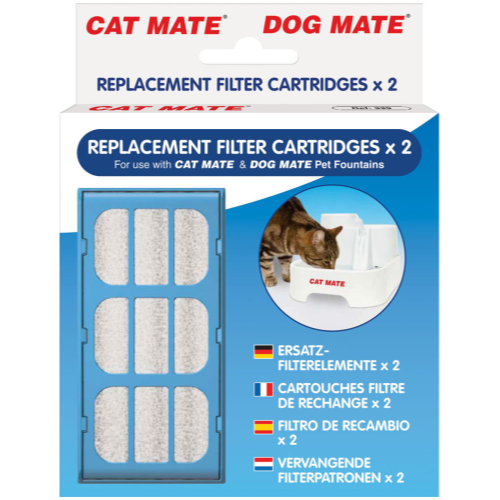 Cat Mate Fresh Water Drinking Fountain for Cats & Dogs 2 Replacement Filters
