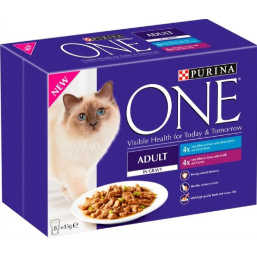 Purina ONE Ocean Fish & Lamb Mini Fillets In Gravy Adult Cat Food