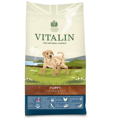 Vitalin Natural Chicken & Rice Puppy Food 12kg x 2