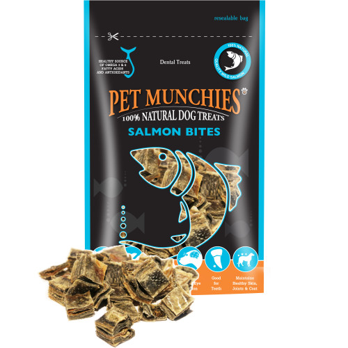 Pet Munchies Natural Salmon Dog Treats 90g - Salmon Bites x 8 SAVER PACK