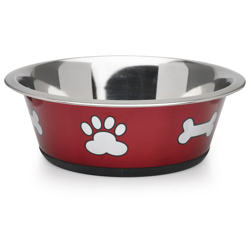 Classic Posh Paws Stainless Steel Red Dog Bowl