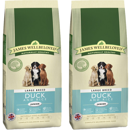 James Wellbeloved Duck & Rice Junior Large Breed Dog Food 15kg x 2