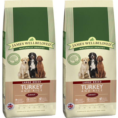 James Wellbeloved Turkey & Rice Adult Large Breed Dog Food 15kg x 2