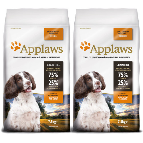 Applaws Chicken Small & Medium Breed Dry Adult Dog Food 7.5kg x 2