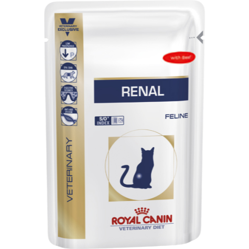 Royal Canin Veterinary Diets Renal Cat Food Pouches 85g x 96 Beef