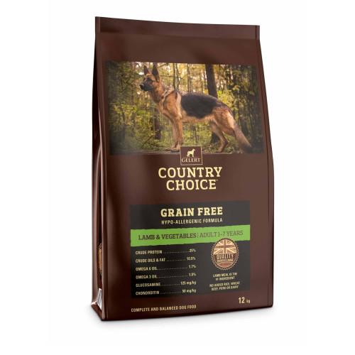 Gelert Country Choice Grain Free Lamb & Veg Adult Dog Food 12kg x 2