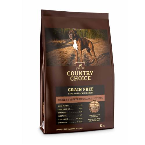 Gelert Country Choice Grain Free Turkey & Veg Adult Dog Food 12kg x 2