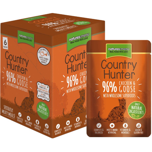 Natures Menu Country Hunter Chicken & Goose Adult Cat Food Pouches 85g x 54