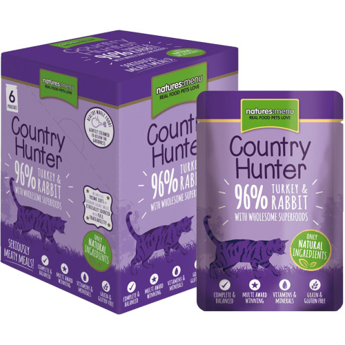 Natures Menu Country Hunter Turkey & Rabbit Adult Cat Food Pouches 85g x 54