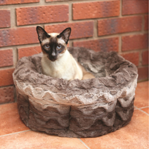 Rosewood Grey & Cream Snuggle Plush Cat Bed 15