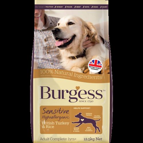 Burgess Complete Sensitive Turkey & Rice Adult Dog Food 12.5kg