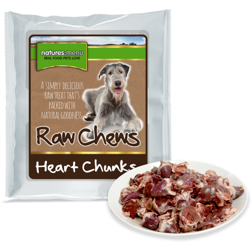 Natures Menu Whole Meat Chunks Chicken Hearts Raw Frozen Dog Food 1kg
