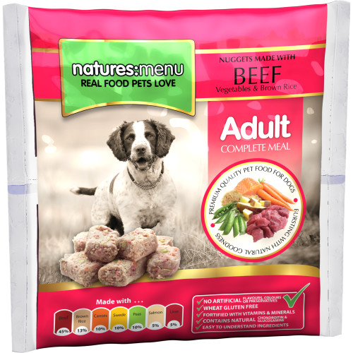 Natures Menu Complete Beef Nuggets Raw Frozen Dog Food