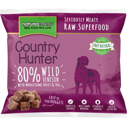 Natures Menu Country Hunter Complete Wild Venison Nuggets Raw Frozen Dog Food