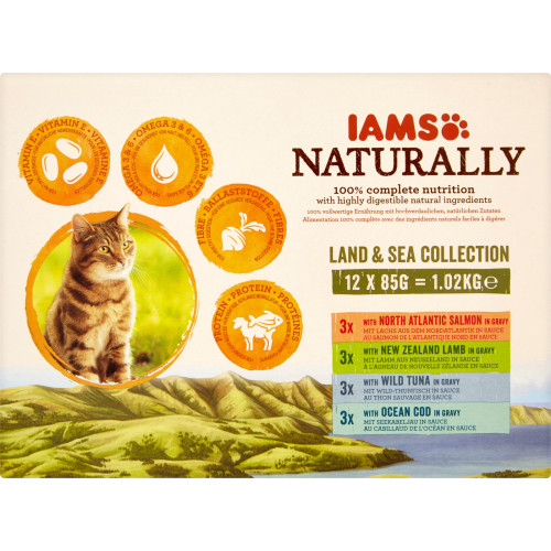 IAMS Naturally Land & Sea Collection Wet Pouch Adult Cat Food 85g x 12