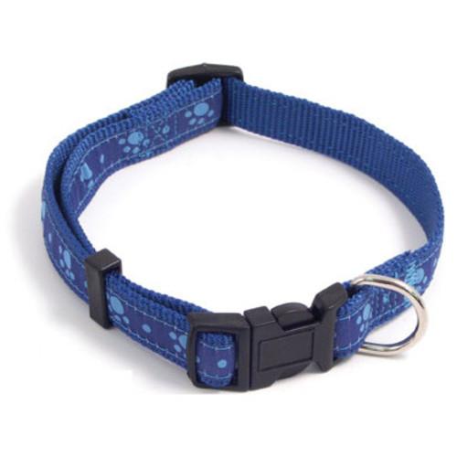 Rosewood Wag 'n' Walk Paw Print Blue Dog Collar