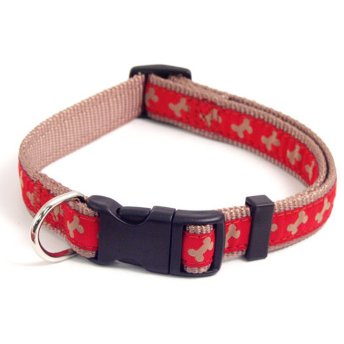 Rosewood Wag 'n' Walk Paw Print Red & Beige Dog Collar