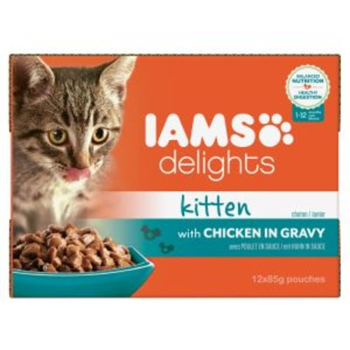 Iams Delights Chicken In Gravy Kitten & Junior Cat Food 85g x 12