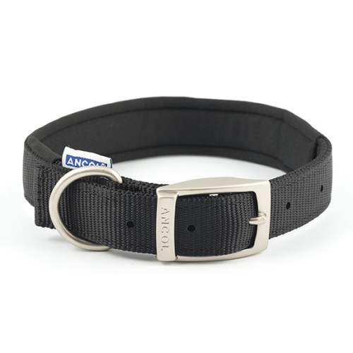 Ancol Padded Nylon Dog Collar Black