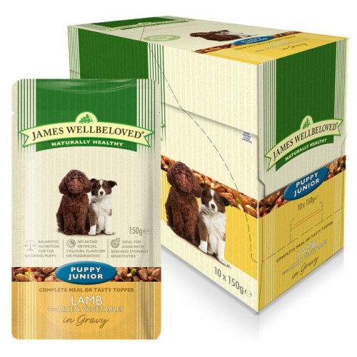 James Wellbeloved Lamb & Rice Puppy Dog Pouches 150g x 60