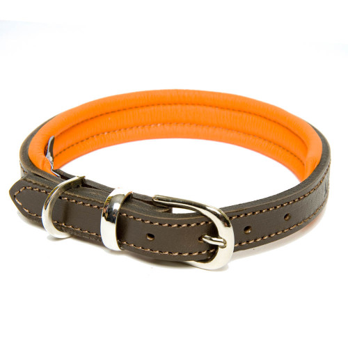 Dogs & Horses Classic Colours Leather Dog Collar Brown & Orange