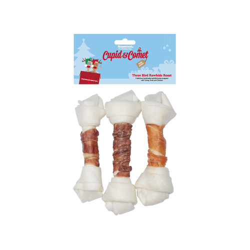 Rosewood Cupid & Comet Three Bird Rawhide Roast for Dogs