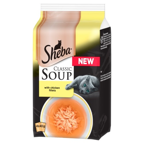 Sheba Classic Soup Pouches with Chicken Fillets Adult Cat Food 40g x 48