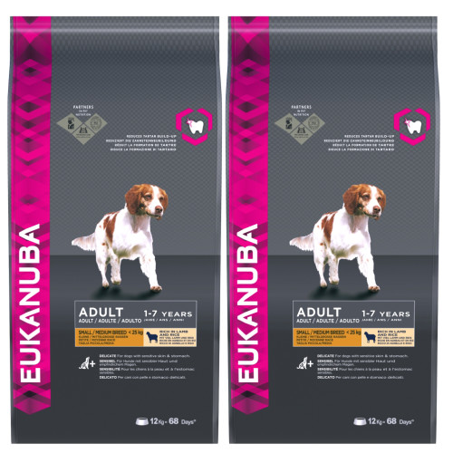 Eukanuba Lamb & Rice Small & Medium Breed Adult Dog Food 12kg x 2