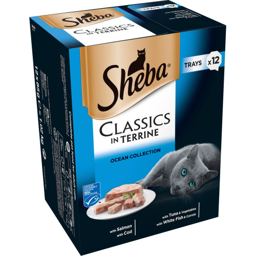 Sheba Classics Ocean Collection in Terrine Adult Cat Food Trays 85g x 48