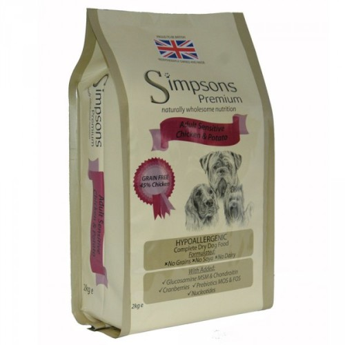 Simpsons Complete Chicken & Potato Sensitive Adult Dog Food 2kg