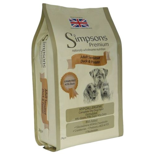 Simpsons Complete Duck & Potato Sensitive Adult Dog Food 2kg