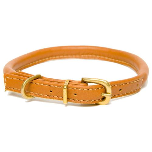 Dogs & Horses Rolled Leather Dog Collar Tan