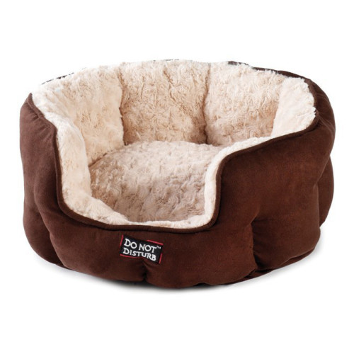 Sharples Pet Luxury Oval Chocolate Cat Bed 43cm