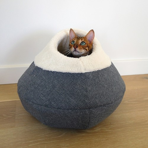 Rosewood Round Cosy Cat Cave Bed