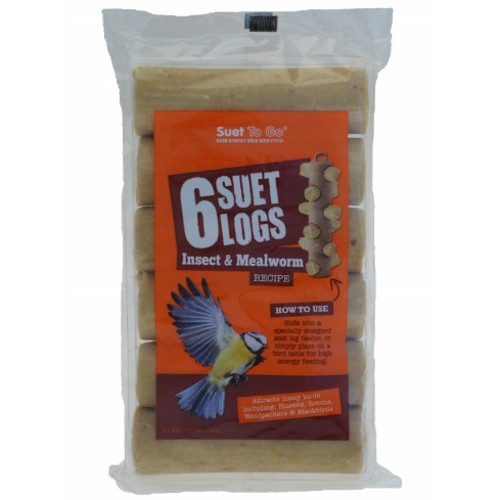 Suet To Go Insect & Mealworm Suet Logs for Wild Birds