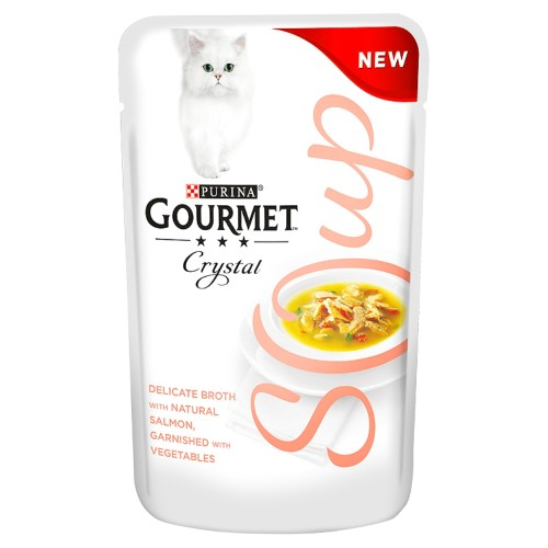 Gourmet Crystal Soup Salmon & Vegetable Adult Cat Food