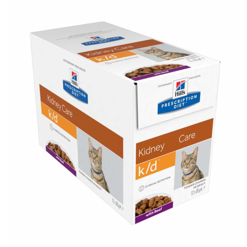 Hills Prescription Diet Feline KD Kidney Care Pouches 85g x 12 Beef